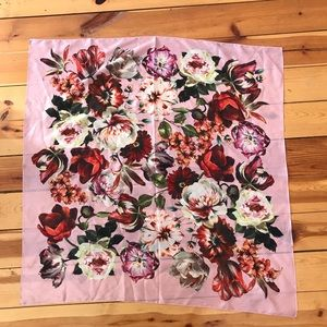 Accessories - Floral Square Satin Scarf